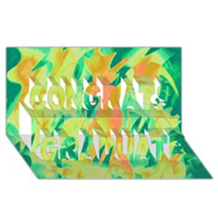 Green and orange abstraction Congrats Graduate 3D Greeting Card (8x4)