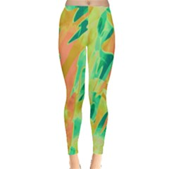 Green and orange abstraction Leggings