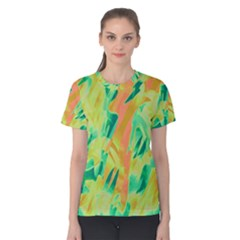 Green and orange abstraction Women s Cotton Tee