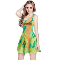 Green and orange abstraction Reversible Sleeveless Dress