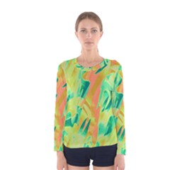 Green and orange abstraction Women s Long Sleeve Tee