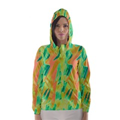 Green and orange abstraction Hooded Wind Breaker (Women)