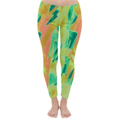 Green and orange abstraction Winter Leggings