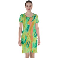 Green and orange abstraction Short Sleeve Nightdress