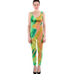 Green and orange abstraction OnePiece Catsuit
