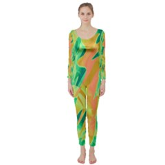 Green and orange abstraction Long Sleeve Catsuit
