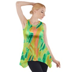 Green and orange abstraction Side Drop Tank Tunic