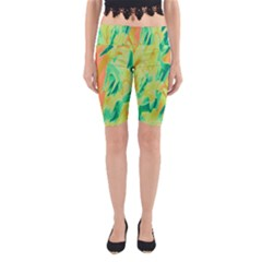 Green and orange abstraction Yoga Cropped Leggings
