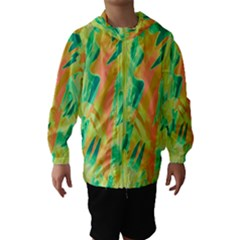 Green and orange abstraction Hooded Wind Breaker (Kids)