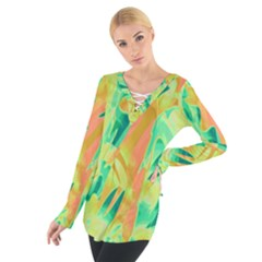 Green and orange abstraction Women s Tie Up Tee