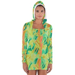 Green and orange abstraction Women s Long Sleeve Hooded T-shirt