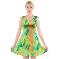 Green and orange abstraction V-Neck Sleeveless Skater Dress