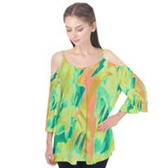Green And Orange Abstraction Flutter Tees