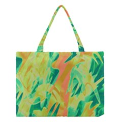 Green And Orange Abstraction Medium Tote Bag