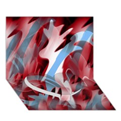 Blue and red smoke Heart Bottom 3D Greeting Card (7x5)