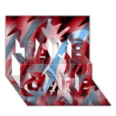 Blue and red smoke TAKE CARE 3D Greeting Card (7x5)