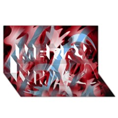 Blue and red smoke Merry Xmas 3D Greeting Card (8x4)