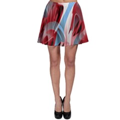 Blue and red smoke Skater Skirt