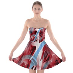 Blue and red smoke Strapless Bra Top Dress