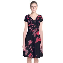 Painter was here  Short Sleeve Front Wrap Dress