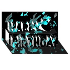 Painter was here - cyan Happy Birthday 3D Greeting Card (8x4)
