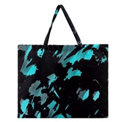 Painter was here - cyan Zipper Large Tote Bag