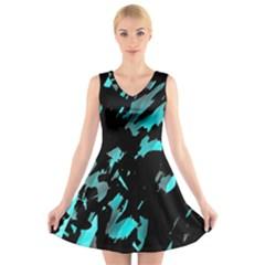 Painter Was Here   Cyan V Neck Sleeveless Skater Dress