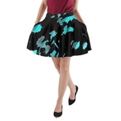 Painter was here - cyan A-Line Pocket Skirt