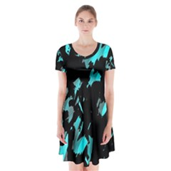 Painter was here - cyan Short Sleeve V-neck Flare Dress