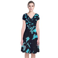 Painter was here - cyan Short Sleeve Front Wrap Dress