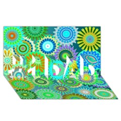 Funky Flowers A #1 DAD 3D Greeting Card (8x4)