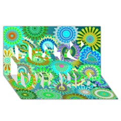 Funky Flowers A Best Wish 3D Greeting Card (8x4)