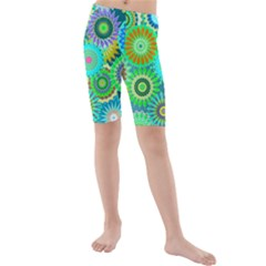 Funky Flowers A Kids  Mid Length Swim Shorts