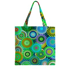 Funky Flowers A Zipper Grocery Tote Bag