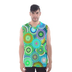 Funky Flowers A Men s Basketball Tank Top