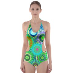 Funky Flowers A Cut-Out One Piece Swimsuit