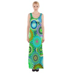 Funky Flowers A Maxi Thigh Split Dress