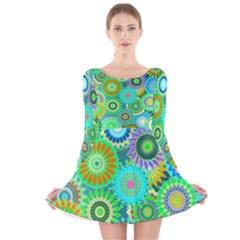 Funky Flowers A Long Sleeve Velvet Skater Dress