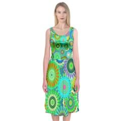 Funky Flowers A Midi Sleeveless Dress