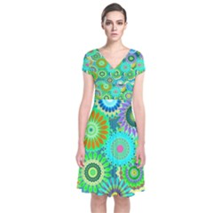 Funky Flowers A Short Sleeve Front Wrap Dress