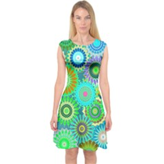 Funky Flowers A Capsleeve Midi Dress