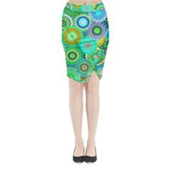 Funky Flowers A Midi Wrap Pencil Skirt