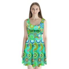 Funky Flowers A Split Back Mini Dress