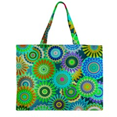 Funky Flowers A Medium Zipper Tote Bag