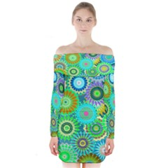 Funky Flowers A Long Sleeve Off Shoulder Dress