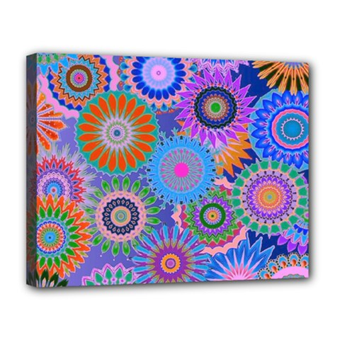 Funky Flowers B Canvas 14  x 11