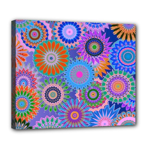 Funky Flowers B Deluxe Canvas 24  x 20