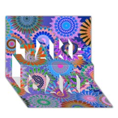 Funky Flowers B TAKE CARE 3D Greeting Card (7x5)