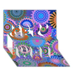 Funky Flowers B Get Well 3D Greeting Card (7x5)