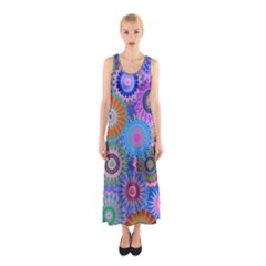 Funky Flowers B Sleeveless Maxi Dress